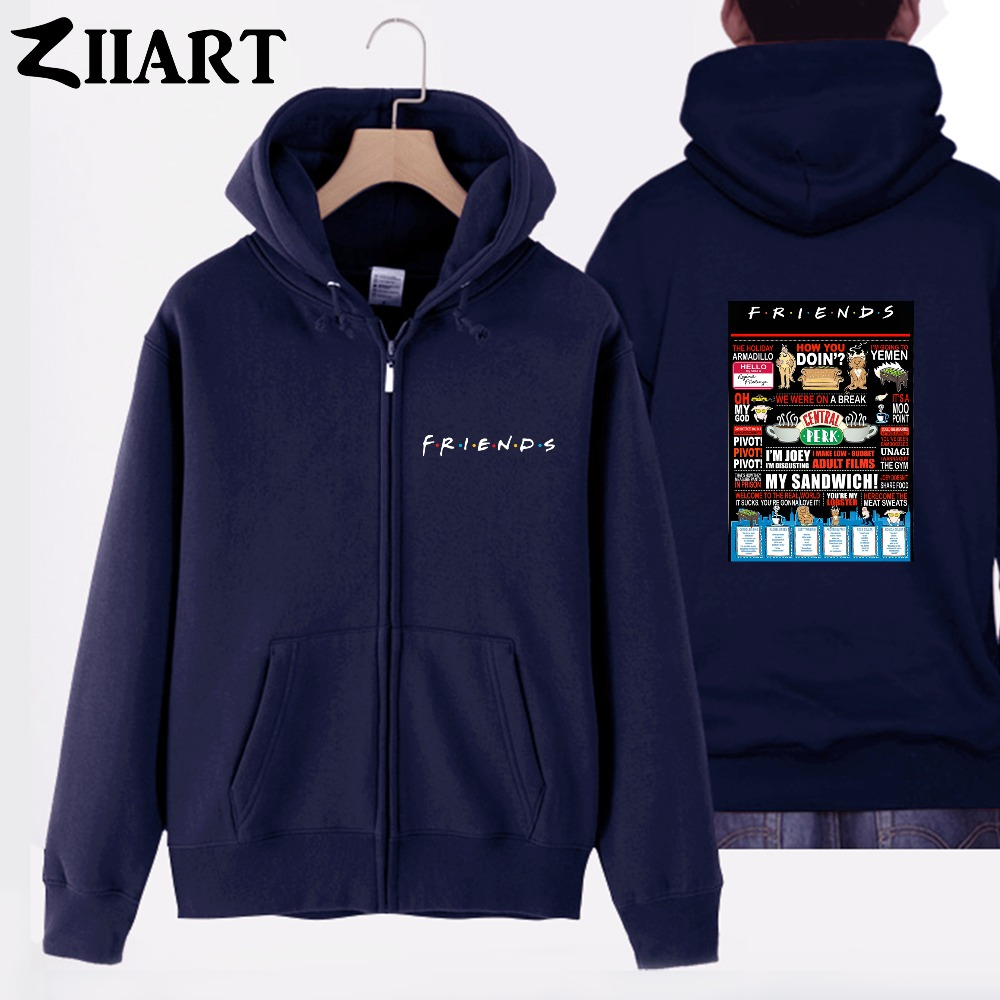 friends central perk the holiday armadillo pivot unagi couple clothes boy man male cotton full zip hooded Coats Jackets