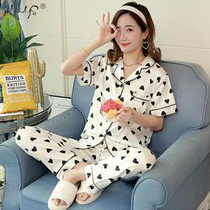 Image 4 - Floral Silk Pajamas Set Women Satin Sleepwear Short Sleeves Long Pants Sleep Suit Ladies Silk Pyjamas Home Clothing Nightwear