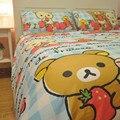 New Children Cartoon Rilakkuma Bedding Set Twin/ Full/ Queen Rilakkuma bed set 100% Cotton 4PCS Without Filler Home Textile