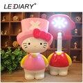 LEDIARY Hello Kitty LED Перезаряжаемые Настольная Лампа Переключатель 3-передач USB Складной Стол Свет для Студента Гибкий Длина Настольная Лампа