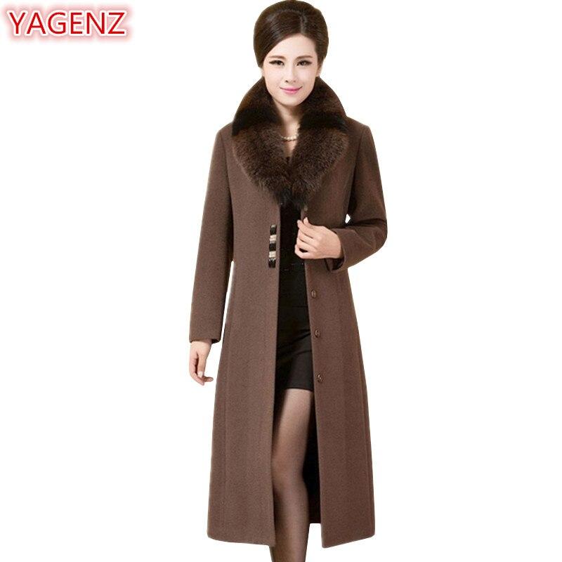 2c4b15eab43 YAGENZ осенне-зимняя куртка женская высокое качество Лисий меховой воротник шерстяное  пальто Женская длинная куртка