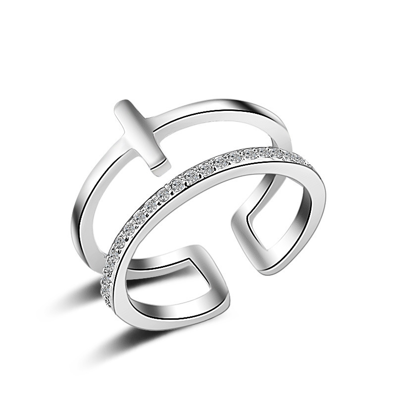 2 Lay Cross Open Ring Gothic Women Female Adjustable Finger Ring for Girl Accessories Birthday Valentines Day Gift