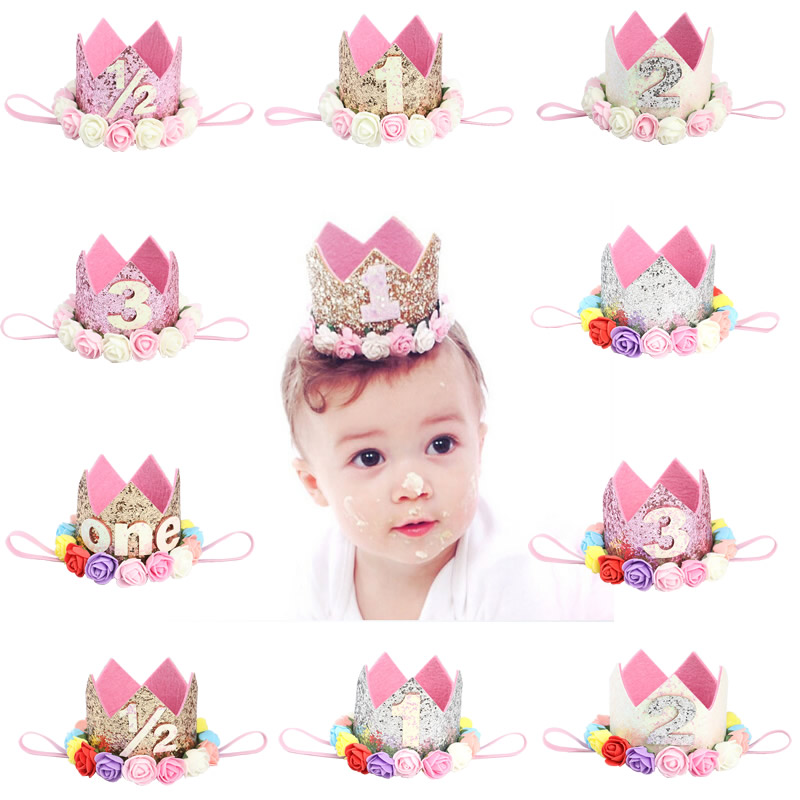 Baby Birthday Decor Flower Crown Headband 1 2 3 Year Number Party Cap Newborn Infant Girls Princess Style Hair Accessories With The Most Up-To-Date Equipment And Techniques