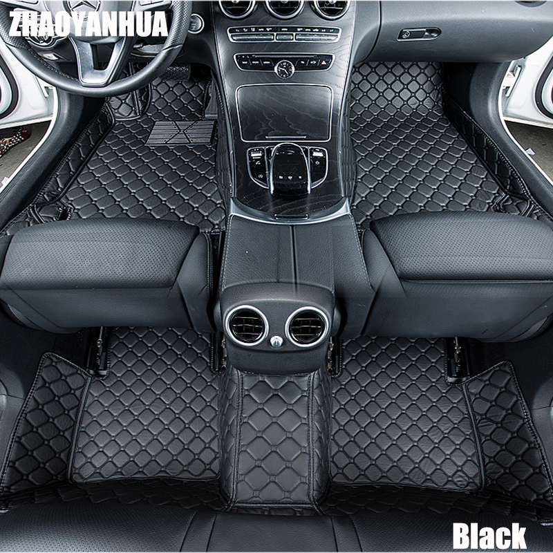 ZHAOYANHUA  car floor mats for Honda HRV HR-V Vezel 6D heavy duty perfect case rugs car-styling carpet leather liners (2014-) diy hand stitched black red genuine leather car steering wheel cover for honda new fit city jazz 2014 2015 hrv hr v 2016