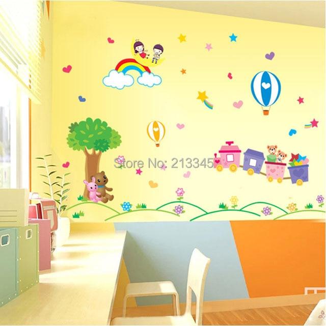 Fundecor] children\'s park stickers cartoon hot air balloon train ...