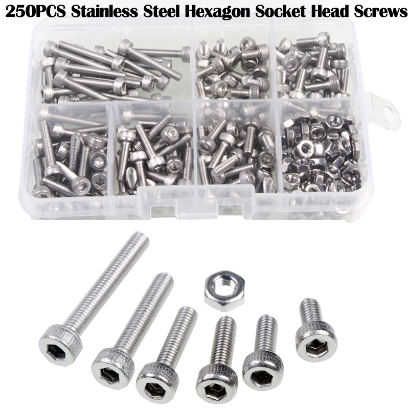 250pcs M3 Stainless Steel Hexagon Socket Head Screws & Nuts 0.5(Pitch) Set Durable Repair Tools For Metalworking/Electrical
