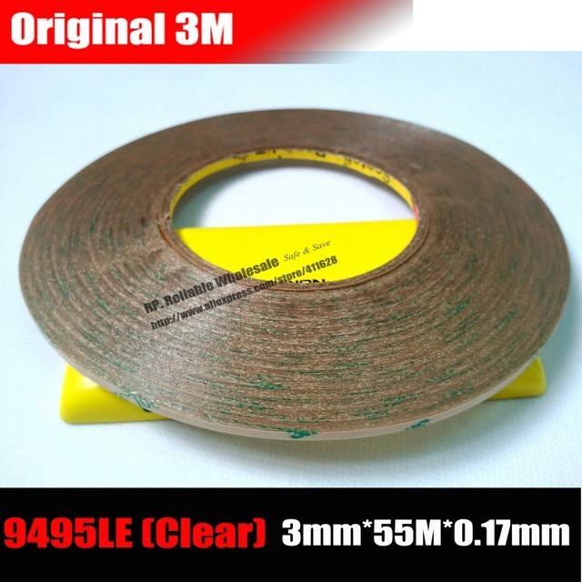 (3mm *55M) Two Faces Adhesive Transfer Tape for LCD Screen Digizter Lens Strong Adhesive Bond, Waterproof 3M 9495LE, 300LSE