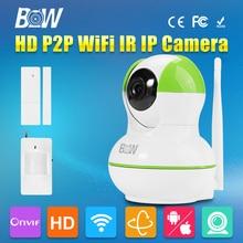 Domo IP Cámara Inalámbrica Wifi P2P 3.6mm Baby Monitor + motion & sensor de puerta gsm sistemas de alarma de infrarrojos de vigilancia de seguridad CCTV