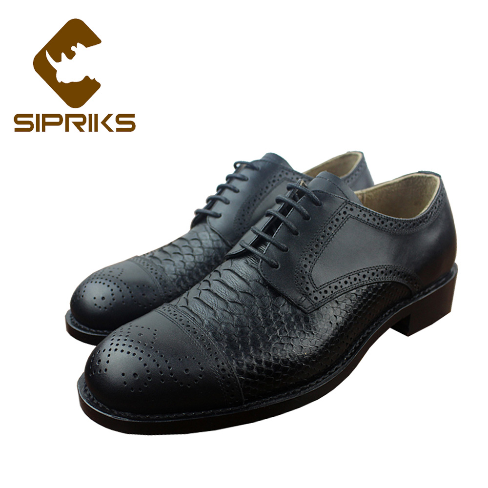 Sipriks Black Python Leather Shoes For Men Luxury Goodyear Welted Shoes Genuine Snakeskin Dress Shoes Mens