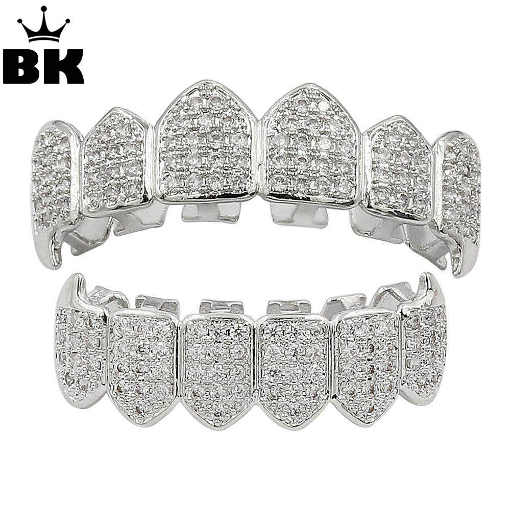 Hip Hop Fang TeethGrillz Set Oro di Colore Micro Pavimenta Zircone Cubico di Superiore e Inferiore teethGRILLZ Bocca Denti Griglie Set