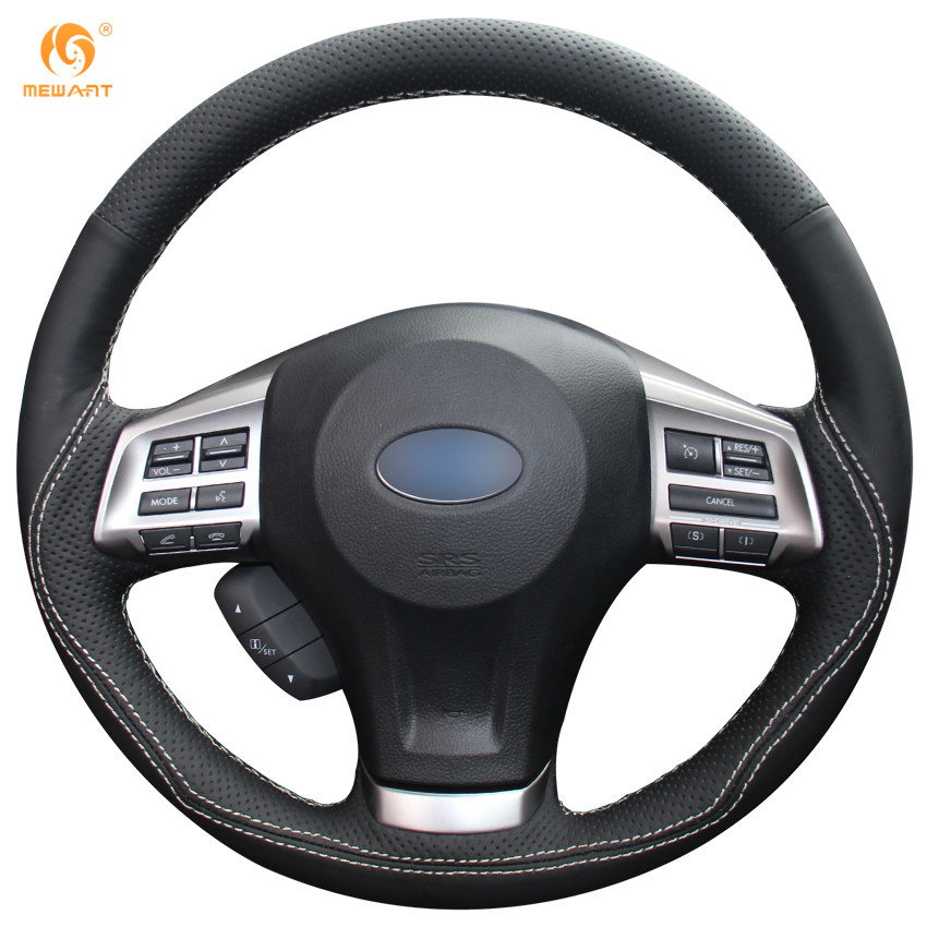 MEWANT Black Genuine Leather Steering Wheel Cover for Subaru Forester 2013-2015 Legacy 2013-2014 Outback 2013-2014 XV 2013-2015