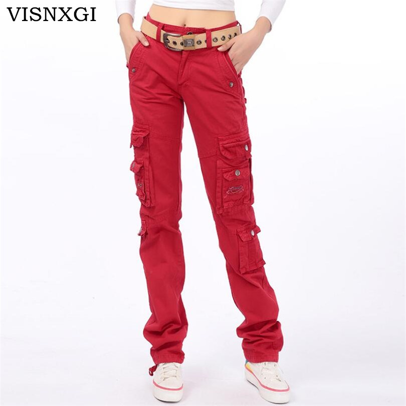 VISNXGI Women Casual Army Green   Pants   High Waist Loose Female Trousers Ladies Fashion Long   Pants   Streetwear Camouflage   Capris