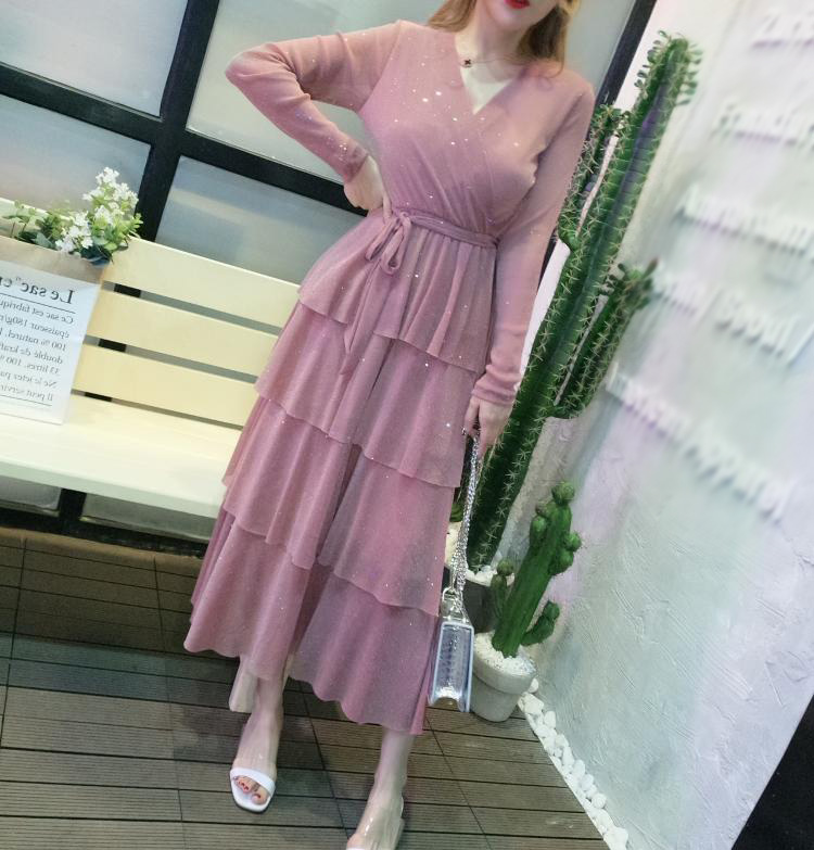 Mesh Sequins Bling Cake Dress Long Vintage Princes Lady Layers Ruffles Dress V Neck Robe Longue Vestido Largo Vestiti Lunga 9