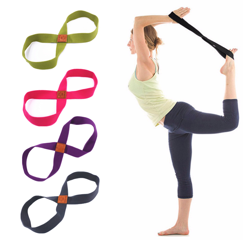Women Yoga Stretch Strap Belt 8-shaped Yoga Pull Up Belt Rope For Wrist Waist Booty Training Gym Accessories Fitness Equipment