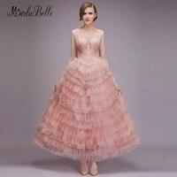 Modabelle пыльное розовое платье для выпускного вечера 2018 Vestidos De Fiesta Largos Elegantes ТРАПЕЦИЕВИДНОЕ фатиновое многослойное кружевные женские платья в