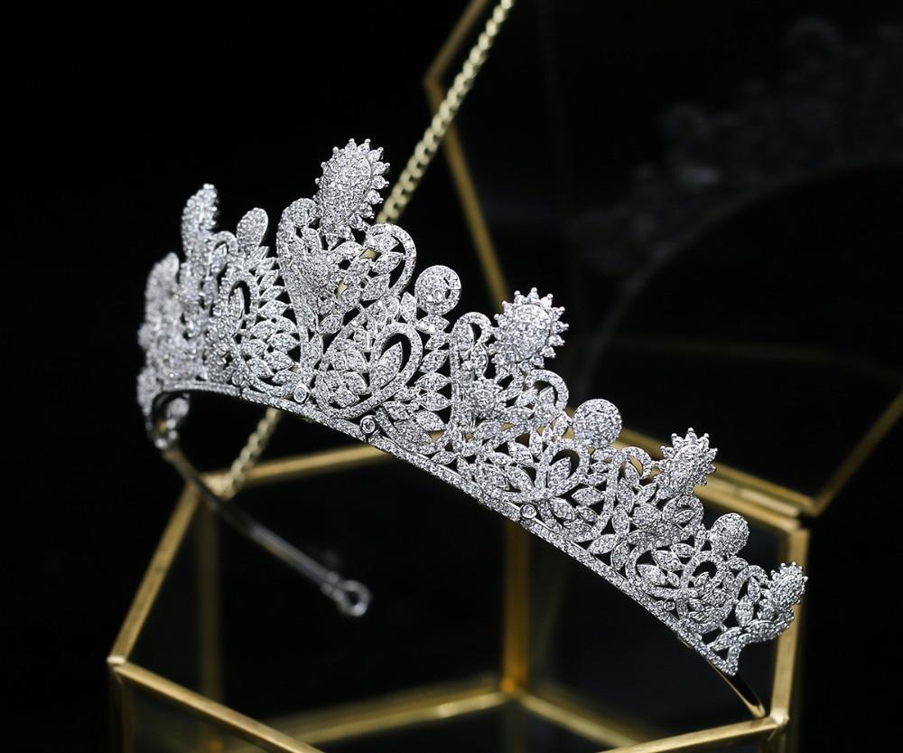 New Fashion Micro Paved Full Cubic Zirconia Brides Wedding Tiara AAA CZ Bridal Princess Crown Coronet Zircon Hair Jewelry new zircon bracelets men jewelry cubic micro pave cz crown charm