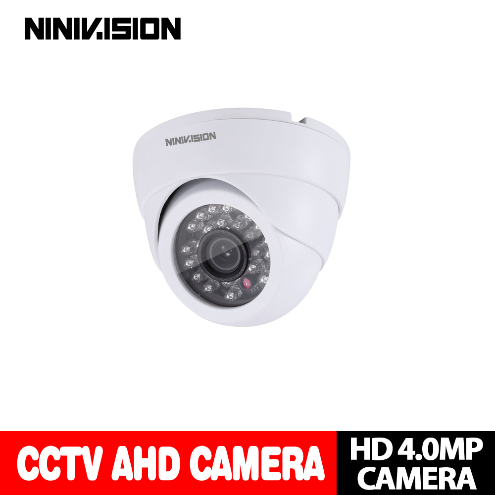 NINIVISION 4MP AHD Camera CCTV Security Night Vision White Dome Surveillance HD Camera IR CUT Filter Work with 4MP 5MP AHD DVR ahd camera 2 0mp metal dome cameras 2 8 12mm lens camera waterproof night vision ir cut filter 1 3 surveillance 1080 cy ahd1313f
