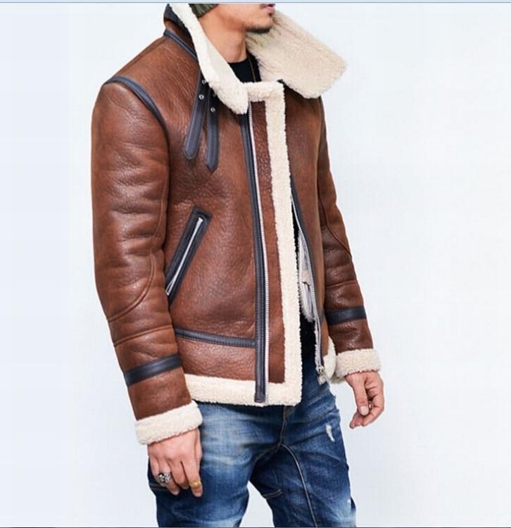 Jaqueta de Couro dos homens Homens do Revestimento De Couro Casacos de Inverno Dos Homens Espessamento Com Veludo Outerwear Moda Quente Revestimentos Da Motocicleta - 2