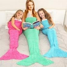 цена на CAMMITEVER Mermaid Blanket Handmade Knitted Sleeping Wrap TV Sofa Mermaid Tail Blanket Kids Adult Baby Crocheted Bag Bedding