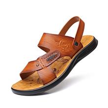 New Fashion Summer Beach Breathable Men Sandals Genuine Leather Men's Sandal Man Causal Shoes Plus Size DA0235