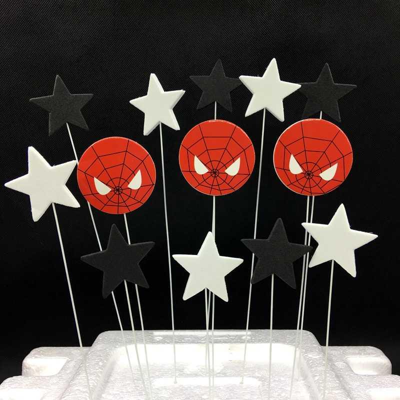 Pleasant 1Set Lot Spiderman Black White Pentagram Stars Cake Topper Foam Birthday Cards Printable Giouspongecafe Filternl