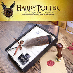 Alta Qualidade Harry Potter Quill Da Pena Caneta Mergulho Caneta de Caligrafia Conjunto Tinta De Escrever Com a HP Vedação Conjunto de Cera E Diário para Os Fãs de Presente