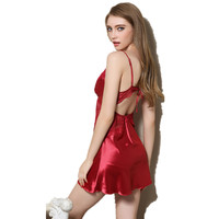 High quality woman Summer Sexy lingerie strap backless sleeveless nightgown female silk sexy lace sleepwear AD252