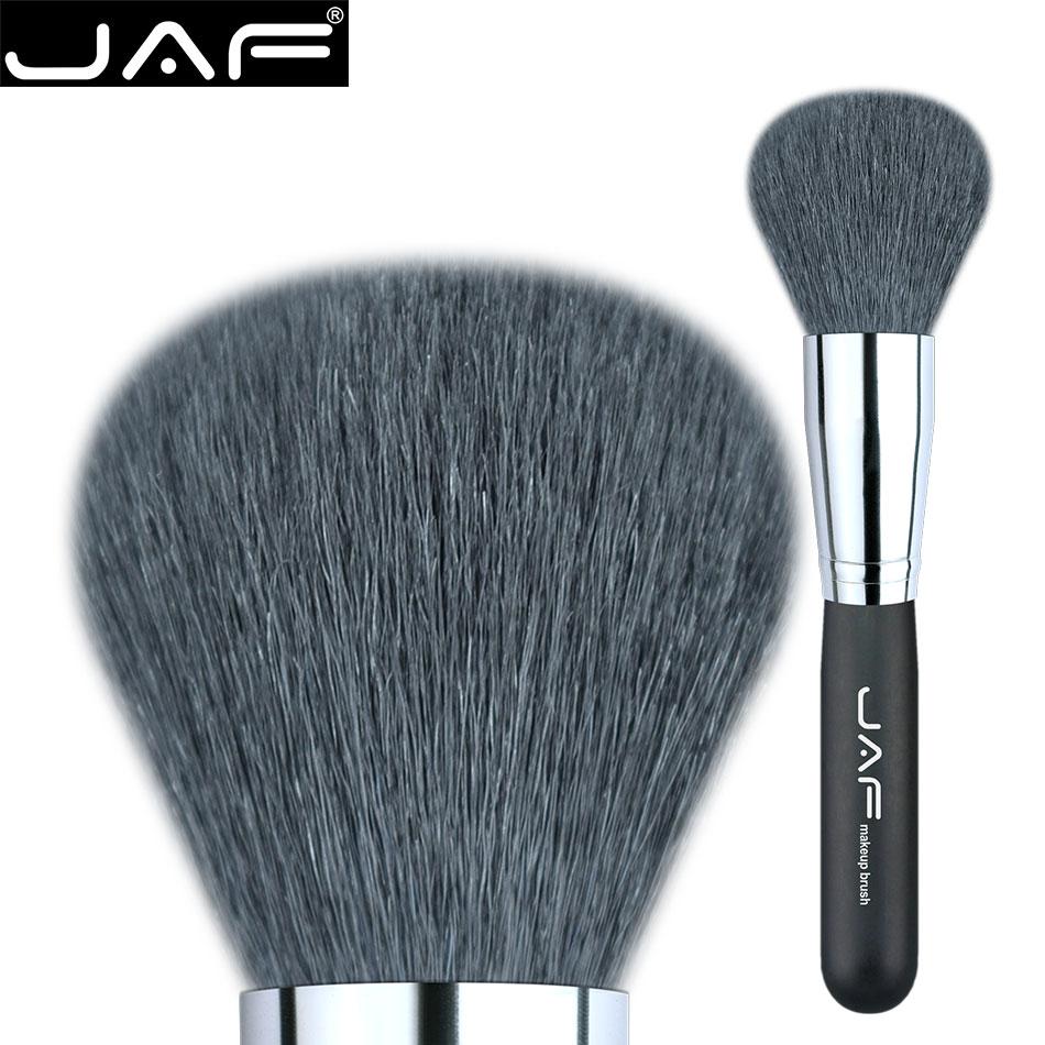Retail JAF 18GKY Extra Large Polvo Bronceador Cepillo Virola de Plata Negro Natural de Cabra Pelo de Cepillo Del Maquillaje