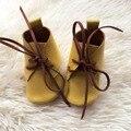 Lemon amarillo cuero genuino mocasines mocasines bebé hecha a mano infantil