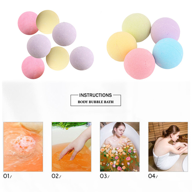1 Pcs Organic Bath Salt Ball Natural Bubble Bath Bombs Ball Rose Green Tea Lavender Lemon Milk Random Color Bath Salts Ball 3