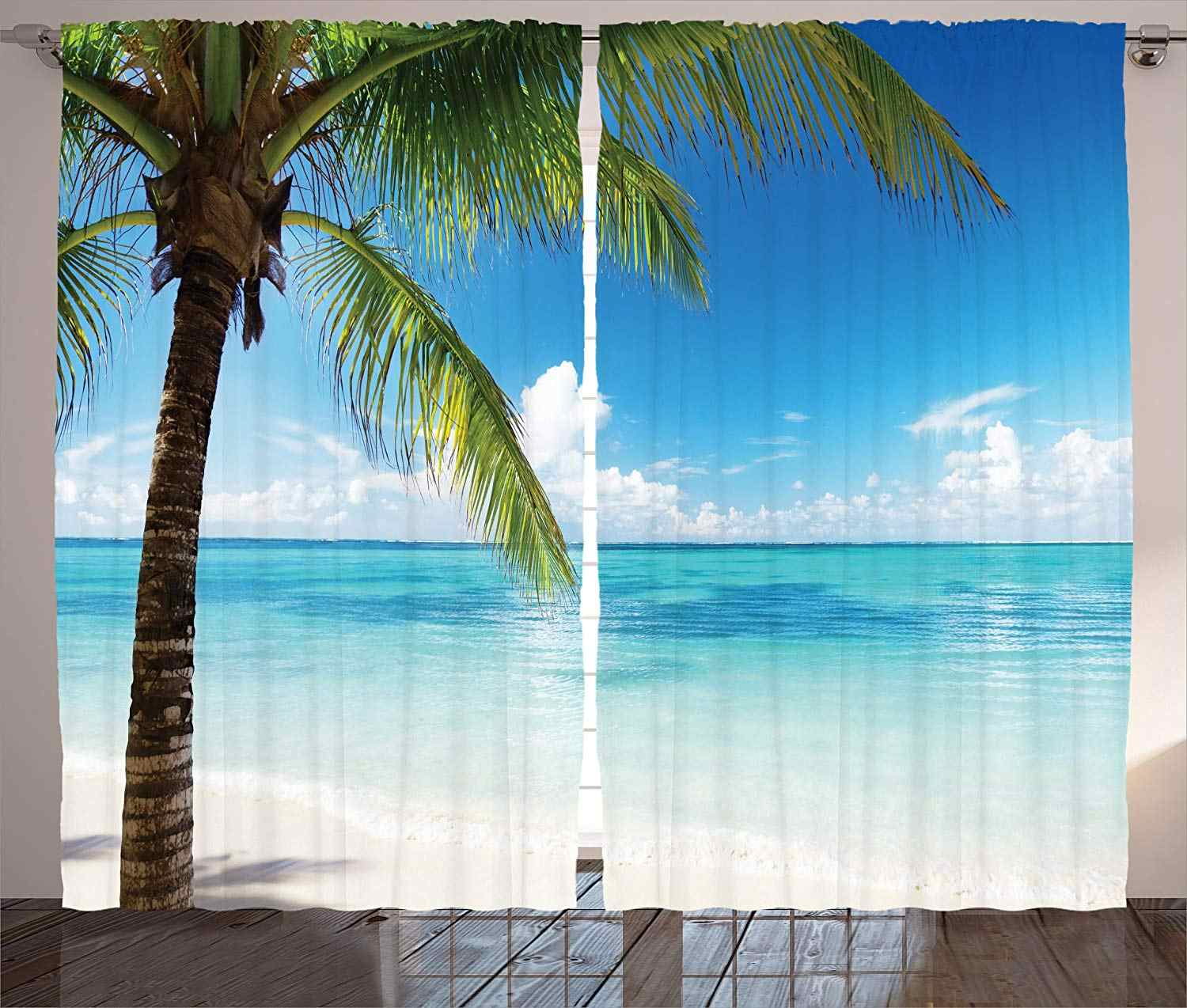 Ocean Curtains Exotic Beach Water and Palm Tree by The Shore with Clear Sky Landscape Image Living Room Bedroom Window Drapes