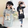 Kids Bear casual letter print dress girls dress baby girl clothes Fashion Long Sleeve Ruffles Turtle Neck cartoon Spliced Dress