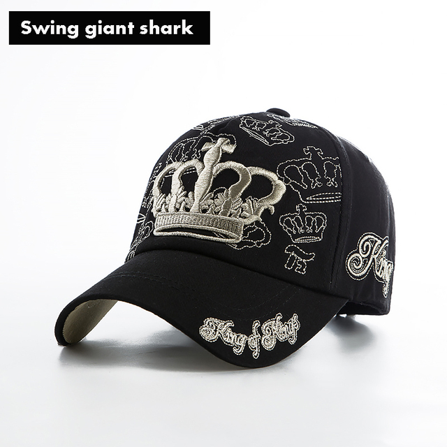 branded baseball caps australia swing giant shark cap hip hop gold embroidery crown custom printed hats
