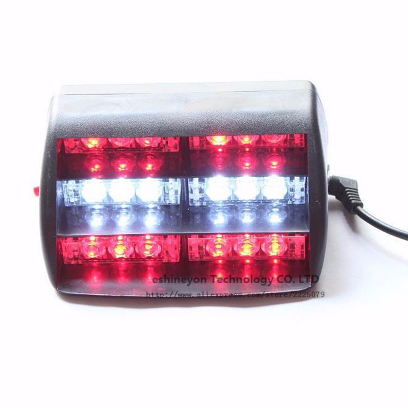 16 LED Car Emergency Strobe Light Bar Police Warning Flash Visor Dash Lightin SF