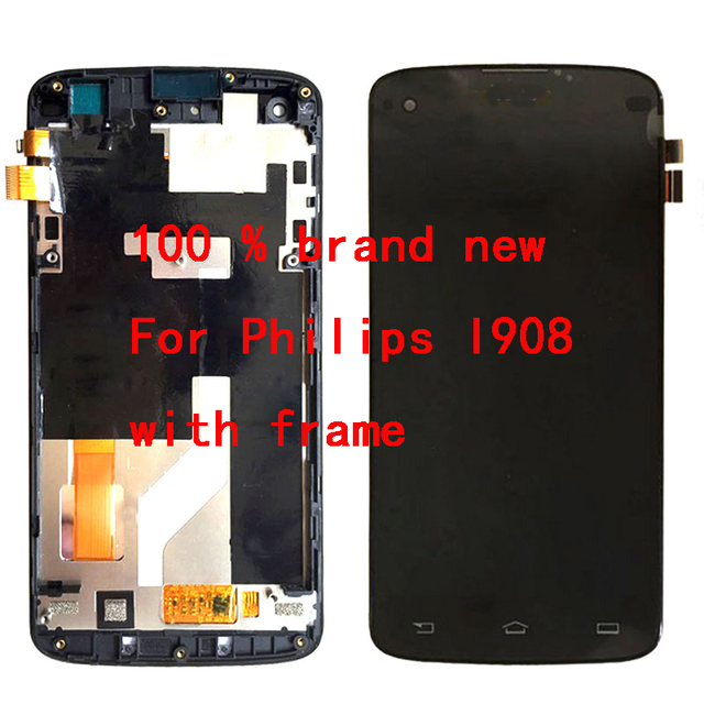 For Black / white Philips I908 LCD Display + Touch Screen Digitizer Glass Assembly With Frame by free shipping; 100% warranty