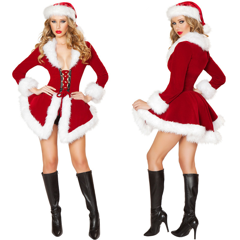 christmas costume christmas new sexy helloween cosplay clothes women red long sleeve strapless dress christmas clothes b 3808 in movie tv costumes from - Christmas Clothes For Adults