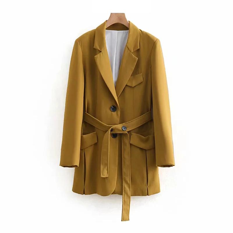 Elegant Women Long Suits 2019 Spring-Autumn Fashion Ladies Notched Collar Blazers With Belts Twill Jackets Chic Girls Cool Tops
