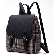 Retro Women Backpack Lady soft PU Leather new fashion Korean style wild personality student Fashion bag