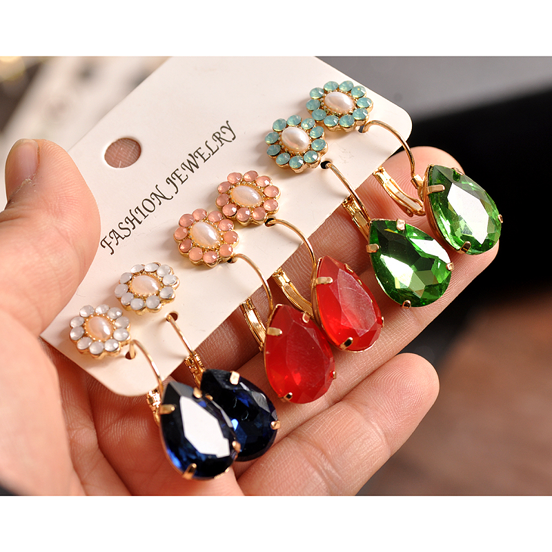 Fashion women jewelry Girl Birthday Party ear nail blue powder green and red mix style 6 pairs of /set ear ring free shipping