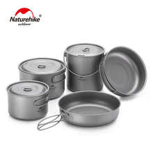 Naturehike 2-3 Persons Outdoor Lightweight Titanium Cookware Camping Pincic Cooker Pot Pan Picnic Tableware