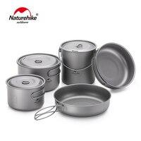 Naturehike 2 3 Persons Outdoor Lightweight Titanium Cookware Camping Pincic Cooker Pot Titanium Pot Pan Camping Picnic Tableware