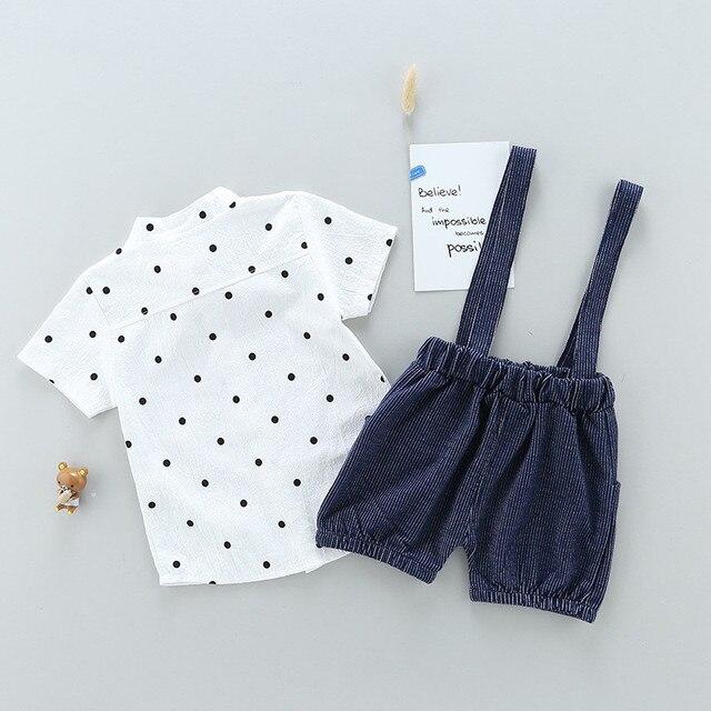 Newborn Bow Style Baby Boys clothing set 2pcs t-shirt + bib pants 2