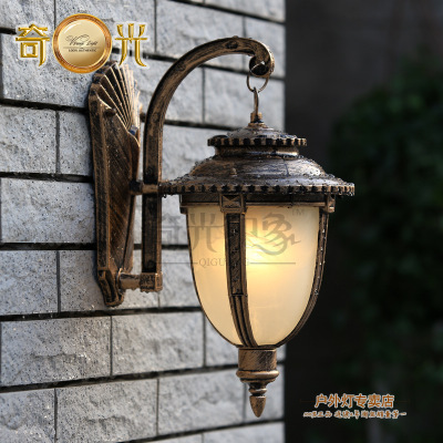 Outdoor Waterproof Lighting Wall Lamps Balcony Porch Light Villa Vintage  Outdoor Lights Bronze Aluminium Glass 110V