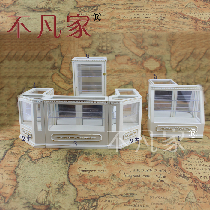 Dollhouse 1/12th Scale Miniature furniture Hand white Store display cabinet set 1 12 scale fine dollhouse miniature furniture white cabinet