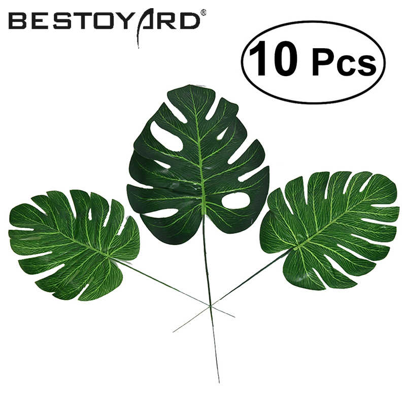 10pcs High Simulation Artificial Monstera Tropical Plant Leaf Home Party Office Store Wedding Event Party Decorations