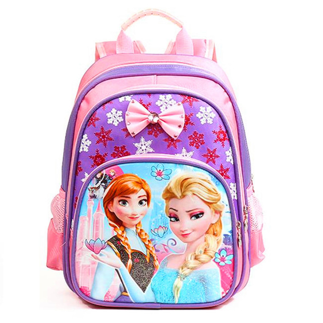 Fashion Snow Queen Anna Elsa cartoon primary children school bags for girls boys book bag bow orthopedic backpack schoolbag