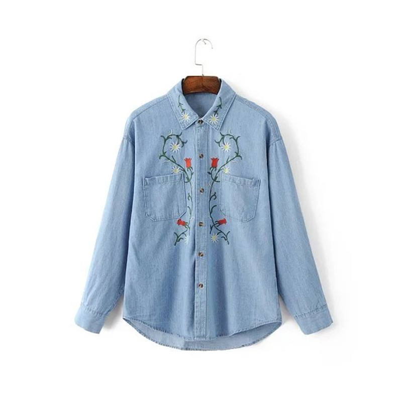 European station spring embroidered denim shirt ladies