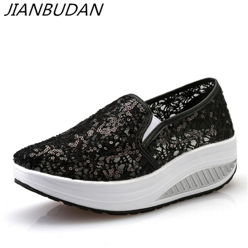 JIANBUDAN 2019 Summer New Sequins Net Yarn Shoes Breathable Swing Shoes Women's Platform Wedge Sandals Casual Woman Pumps 35-40