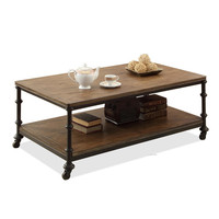 The Village Of Retro Furniture The Classical Fashion Wood And Iron Table Double Table Wheels Dining