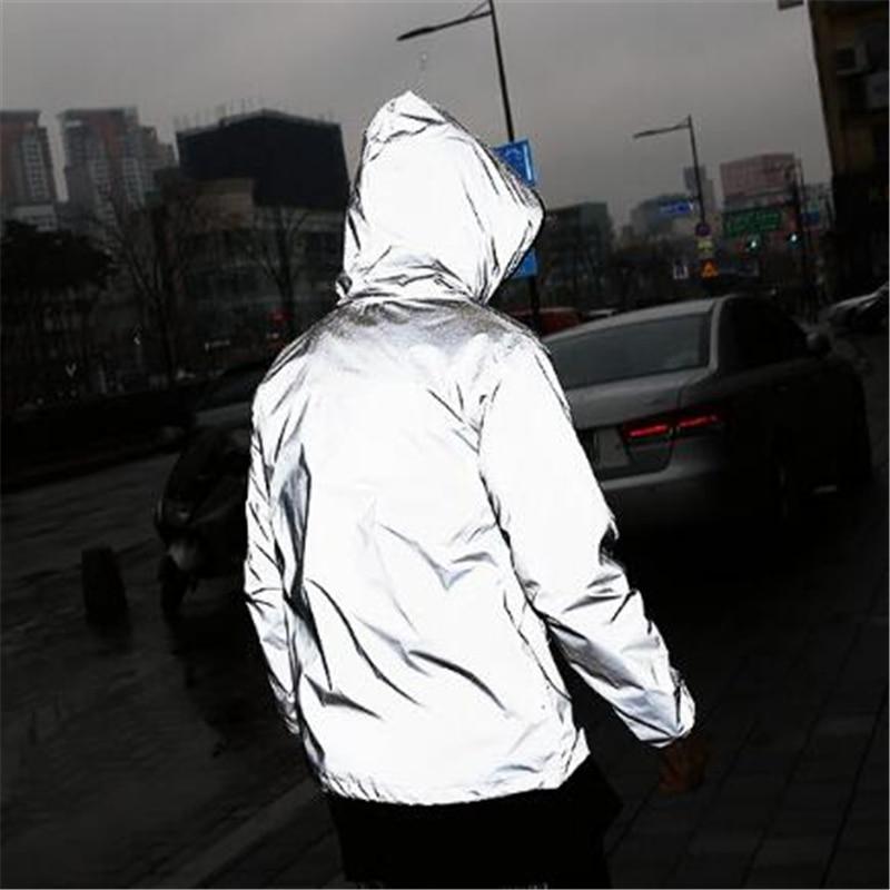 Plus Size 4XL Men Spring Autumn full reflective Windbreaker waterproof Jacket male High street hip hop Loose Hooded Coats 3